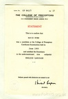 Exam Certificate for David Dyer 1965